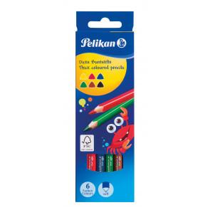 Pelikan Buntstifte dreieckige dicke Holzstifte Packung mit 6 Farben