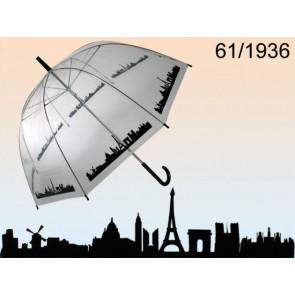 Out of the Blue Regenschirm Kuppel 85cm transparent mit Motiv Skyline Paris