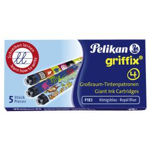Pelikan Tintenpatronen GRIFFIX® Großraum königsblau bunt bedruckt Etui mit 5 Stück