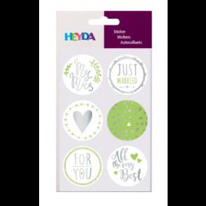 """HEYDA Geschenke-Sticker """"Just Married"""" 4 Blatt 6 Sticker"""