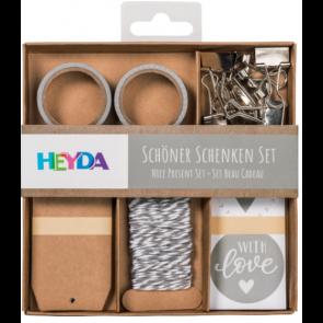 "Heyda Verpackungs-Set ""Schöner Schenken"" in grau"