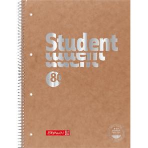 Brunnen Collegeblock Premium Student FACT!plus Lin. 28 DIN A4 kariert braun