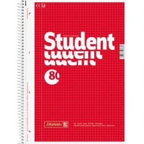 Brunnen Collegeblock Student DIN A4 Randlinie innen kariert rot