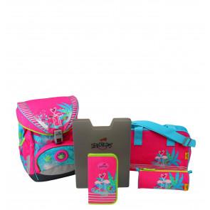 DerDieDas Schulranzenset ErgoFlex XL Flamingo 5-teilig