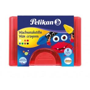 Pelikan Wachsmalstifte wasserfest Kunststoff-Etui rot mit 8 dicken runden Stiften und Schaber