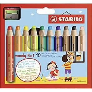 Buntstift, Wasserfarbe & Wachsmalkreide - STABILO woody 3 in 1 - 10er Pack mit Spitzer