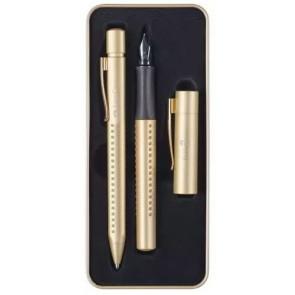 FABER-CASTELL Grip Edition Füller M + Kugelschreiber gold im Geschenketui