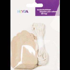 Heyda Geschenkanhänger-Set Packung 9,5 x 13,5 cm natur