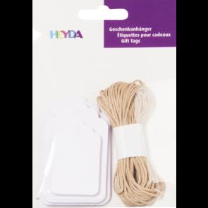Heyda Geschenkanhänger-Set Packung 9,5 x 13,5 cm weiß