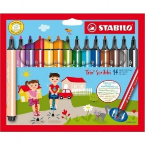 Gefederter Dreikant-Filzstift - STABILO Trio Scribbi - 14er Pack