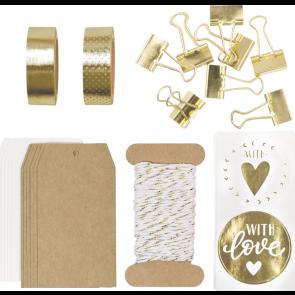 "Heyda Verpackungs-Set ""Schöner Schenken"" in gold"