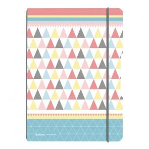 Herlitz my.book flex - Dreiecke Pastellfarben (Graphic Pastels Mix) Notizheft kariert und liniert A4 2x 40 Blatt, gelocht mit Mikroperforation