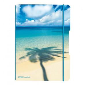 Herlitz my.book flex - Palme Strand Notizheft kariert und liniert A4 2x 40 Blatt, gelocht mit Mikroperforation