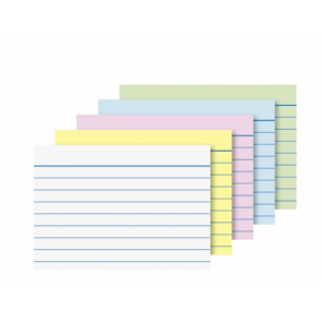 Brunnen Karteikarten A8 liniert, 7 mm Zeilenabstand, mehrfarbig