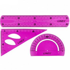 LINEX-Set: Lineal 20 cm, Zeichendreieck 13 cm, Winkelmesser (Pink)