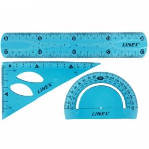 LINEX-Set: Lineal 20 cm, Zeichendreieck 13 cm, Winkelmesser (blau)