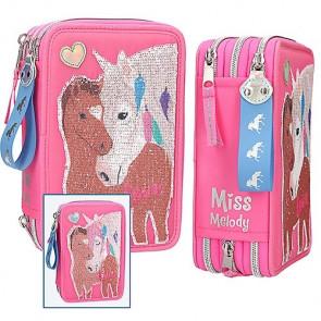 Miss Melody Federmäppchen mit Pferd Streichpailletten 3-Zipp Pink gefüllt 10529