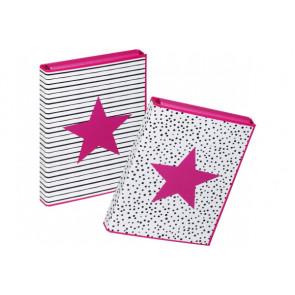 Pagna Heftbox A4 mit Gummizugverschluß Pink Star