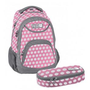 Paso Bundle – Gepunkteter Schulrucksack mit Mäppchen rosa/grau