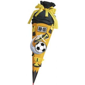 Roth Schultüte Bastelset Soccer gelb 6-eckig 68cm Kreppverschluss