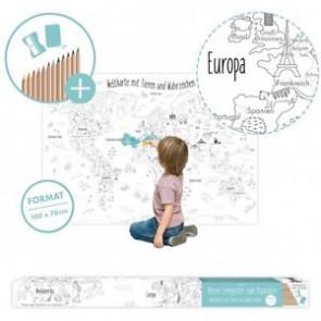 Weltkarte zum Ausmalen 100 x 70 cm