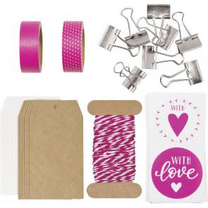 "Heyda Verpackungs-Set ""Schöner Schenken"" in pink"