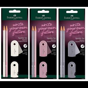Faber-Castell Schreibset Grip Sparkle Edition 2Bleistifte- 1Spitzer-1Radierer