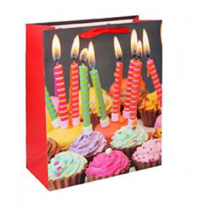 Geschenktüte Papier Happy Birthday Motiv - Cupcakes mit Kerzen - Größe: L