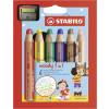 Buntstift, Wasserfarbe & Wachsmalkreide - STABILO woody 3 in 1 - 6er Pack mit Spitzer