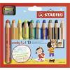 STABILO Buntstift, Wasserfarbe & Wachsmalkreide - woody 3 in 1 - 10er Pack mit Spitzer
